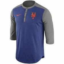 Nike MLB Authentic Collection New York Mets Dri-FIT 3/4 Sleeve Henley T-Shirt