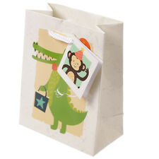 Zoo Animals Small Glossy Gift Party Bag Crocodile Monkey Handles & Tag 14 x 11cm