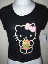 New HELLO KITTY  Women's JR  Cropped TOP SHIRT Tee XS S Black Lace