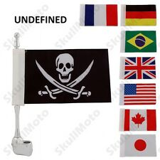Universal Motorcycle Bike Small Silver Mount Flag Pole with Flag Kit For Harley