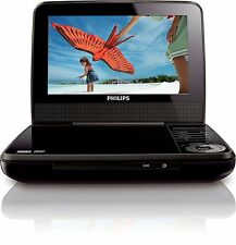 "Philips PET741B/37 Black Widescreen 7"" Car Portable DVD Player Stereo Speaker -C"