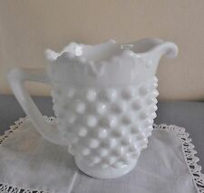 Fenton Milk Glass Cream Pitcher Vintage Hobnail Scalloped Rim Marked Tag inside
