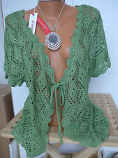 Sheego Cardigan Jacket 40/42 - 56/58 Chunky knitted Green (480) NEW