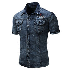 Men's Fashion Summer Short Sleeve Slim Fit Denim Button Front Lapel Shirt Mystic