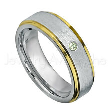 0.07ct Peridot Solitaire Ring,August Birthstone Ring, 2-Tone Tungsten Ring #330