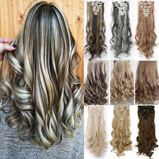 8PC Real Natural Hair Extension Clip in Thick Hair Extensions Long As Human Hair