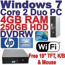 'Windows 7 HP Core 2 Duo Desktop PC Computer  4GB RAM ~ 250GB HDD - DVDRW Wi-Fi.