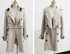 Belted Crepe Double Breasted Beige Trench Coat 2 Pieces 3 Styles