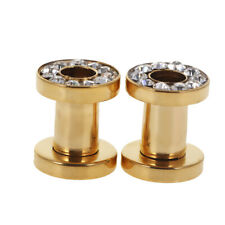Gold 316L Stainless Steel Double Flare Flesh Ear Tunnels Plugs Earlet Ear Gauges