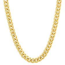 4mm 14k Yellow Gold Plated Cuban Curb Link Chain with Lobster Clasp