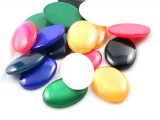 10pcs 18x25mm Oval flat back resin cabochons in 7 colours or mixed colour pack