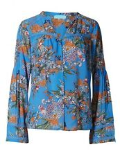 NEW M&S PER UNA BLUE FLORAL BELL SLEEVE BLOUSE 10 to 18 RRP £29.50