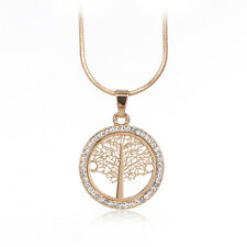Newest Tree Of Life Pendant Necklace Women Jewelry Rose Gold Plated Snake Chain