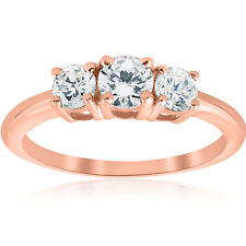 1ct 3 Stone Diamond Engagement Round Cut Ring 14k Rose Gold