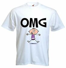 OMG T-SHIRT - Oh My God  Funny Text Language Facebook twitter - Sizes S-XXXL