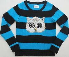 NEW Justice Girls blue black striped long sleeve sequin owl sweater size 5 NWT