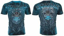 Xtreme Couture AFFLICTION Mens T-Shirt HONORABLE Wings BLUE Tattoo Biker UFC $40