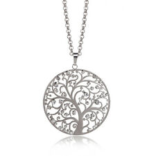 Fashion Crystal Tree Large Pendant Necklace Women Silver Plated Classic Necklace