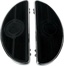 DS Half-Moon Driver Floorboards w/Solid Inserts Chrome Harley FLHS Sport 87-93