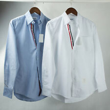 New Thom-Browne Oxford Grosgrain Placket Cotton Shirt Simple Long Sleeve Shirts