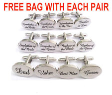 Personalised ENGRAVED Wedding Cufflinks Shiny Oval Silver Groom Best Man Usher