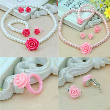 Flower Shape Pearls Kids Girls Child Necklace Bracelet Ring Ear Clips Sets