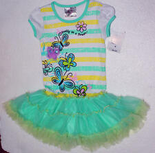 Brand New Beautees Girl Princess Butterfly Striped Green  TuTu Dress~2T TO 6X