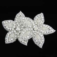 Star Type Silver Beaded Flower Crystal Rhinestone Applique Sew Iron On Clothing