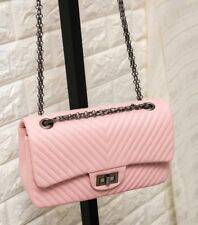 Faux Leather Black Pink White Red Quilted Handbag with Quilted Chain Flap Bag