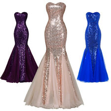 Strapless Dress Mermaid Ball Gown Sequine Evening Prom Dresses Party Size US2~16