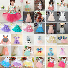 Toddler Baby Kids Girls Princess Party Tutu Lace Bowknot Flower Dresses Clothes