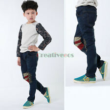 New Children Boy Jeans Star Print Soft Casual Denim Trousers Toddlers Kids Pants
