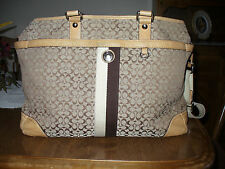 coach diaper bag outlet factory kcr7  COACH SIGNATURE VOYAGER STRIPE BABY DIAPER BAG MULTI-FUNCTION TOTE F13813