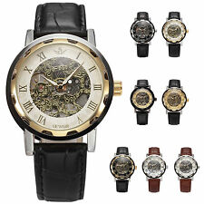 Classic Men's Skeleton Leather Mechanical Stainless Steel Army Sport Wrist Watch