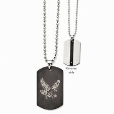 Stainless Steel Eagle Dog Tag Pendant Necklaces - 46x28mm Bead