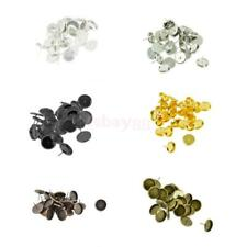 24PCS Brass 12mm Round Stud Earrings Base Trays Cabochon Beads Settings Findings