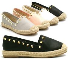 Womens Ladies Flats Espadrilles Slip On Studded Beach Sandals Shoes Pumps Summer