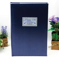Personalised 50th Birthday 300 Photo Album - Blue - Add a Name & Message