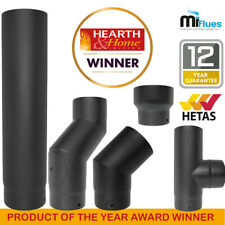 Black Stove Pipe Vitreous Enamelled Kit Matt Flue 5 inch or 6 inch 125mm 150mm
