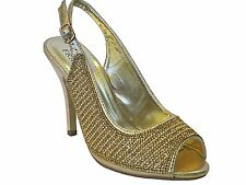 Valenti Franco womens gold sequin design peep toe sling back high heel shoes
