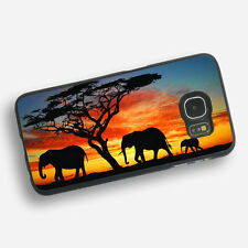 ELEPHANT AFRICAN SUNSET Black Rubber Phone Case Cover Fits Samsung  (SBR)
