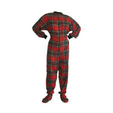 Red and Black Flannel Adult Footed Pajamas Footie Drop Seat Mens Womens PJs
