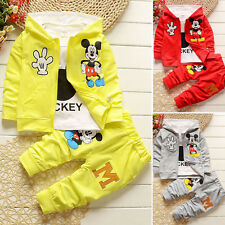 3pcs Kids Baby Boys Girls Outfits Set Mickey Mouse Coat+T shirt+Pants Clothin+