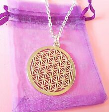 flower of life pendant necklace Sacred Geometry Reiki Yoga 45mm on silver chain