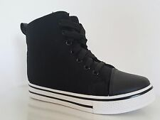 Women's Black Wedges Trainers Lace Up HI Top Boots Ankle Mid Heel Style Sneakers