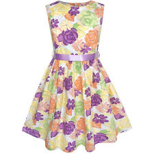 Girls Dress Colorful Flower Summer Beach Party Sundress Age 2-10 Years