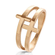 Finger Ring Stainless steel Double Cross rose gold Size 6/7/8/9/10