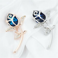 1Pcs Alloy Brooches Rose Flower Gift Crystal Clothing Brooch Rhinestone
