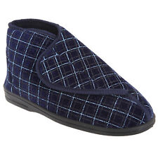 Zedzzz Mens Bertie Check Velour Touch Fastening Bootee Slippers