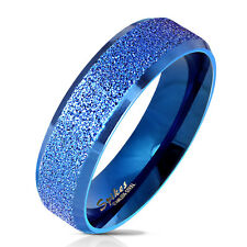 Finger Ring Stainless steel sand-blasted blue Size 5/6/7/8/9/10/11/12/13